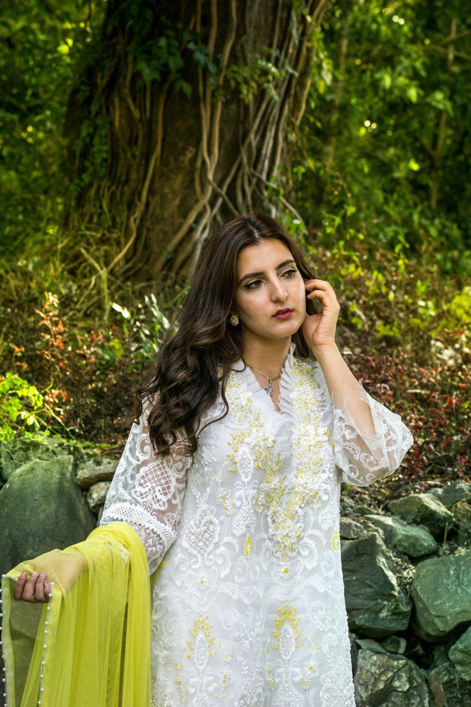 Dilaawaiz by Sahar - Yellow and White - ENS-005