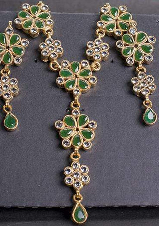 Designs By Amina - Gold Plated Necklace And Earrings In Emerald Colour
