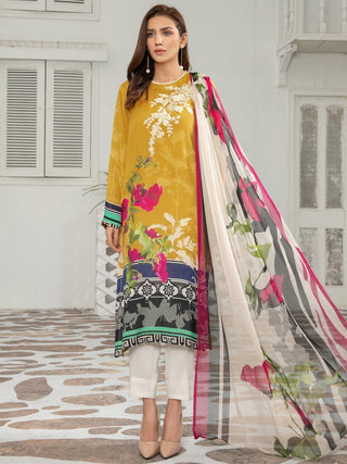 Limelight - Mustard Embroidered Thai Silk Suit - 2 PC - P3426