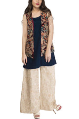 Fnkasia - Beige Embroidered Silk Pants