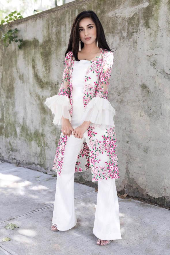 Samaira Ghani - Multi Jacket With Slip & Bell Bottoms