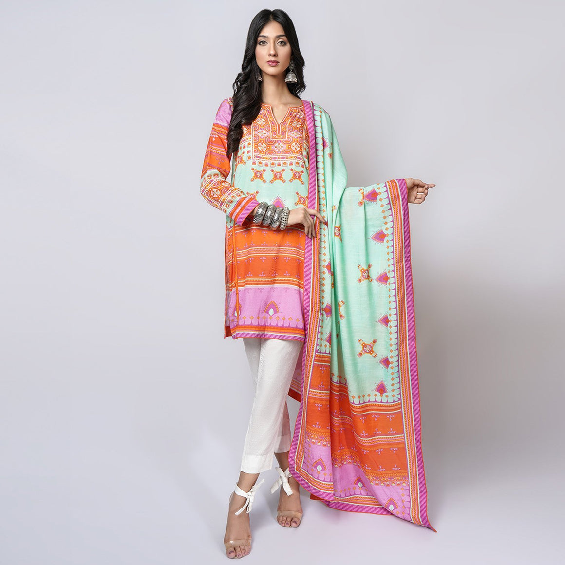 Rizwan Beyg - Baluchi Print Sea Green Shirt with Dupatta