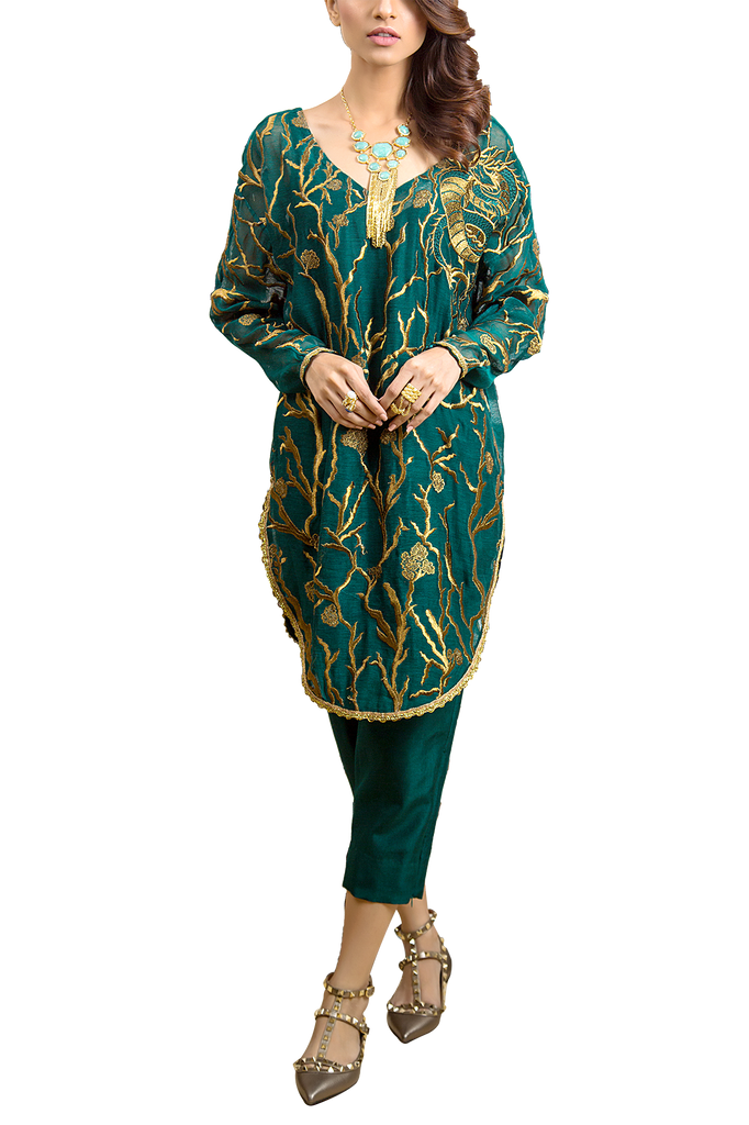 Tena Durrani - Forest Cotton Net With Embroidered Green Top And Raw Silk Cigarette Pants