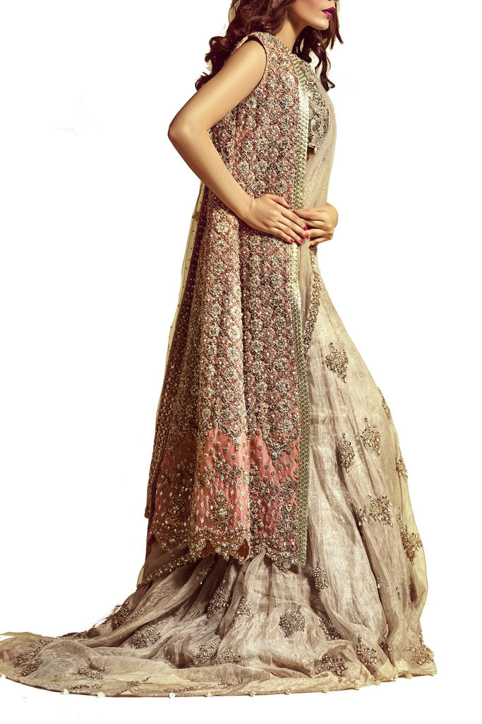 Mahgul - Peach Hand Worked Net Gown & Dupatta With Sharara & Blouse