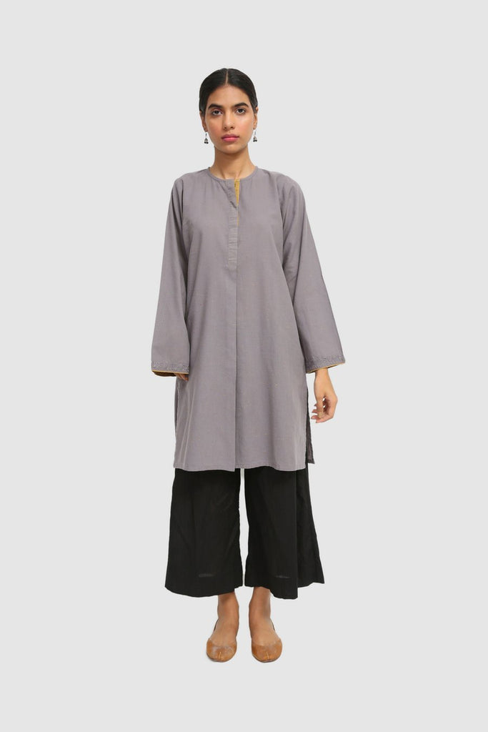 Generation - Grey Lakai Dotted Khaddar Kurta - 1 PC