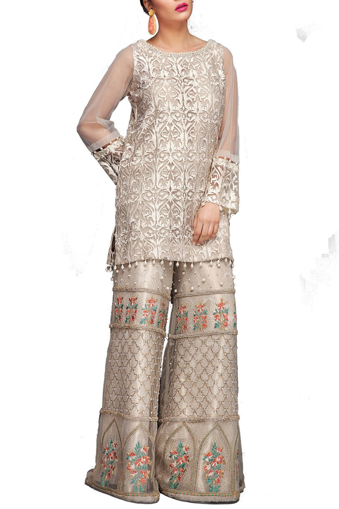 Mahgul - White Fully Embroidered Net Shirt With Plain Sharara Pants