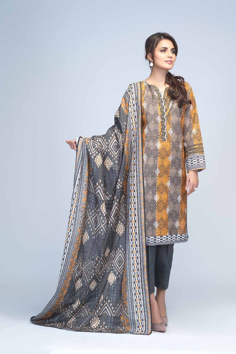 Bonanza Satrangi - Dark Gray Sabaat A - 2 PC