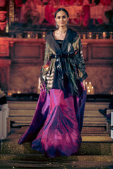 Seher Tareen - Fully Embellished Kimono With Voluminous Skirt