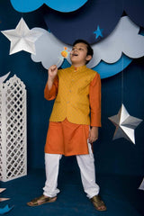 Hummingbirds - Saffron Orange Kurta