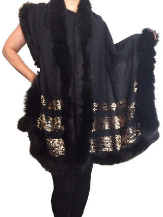 Amishi - Black & Gold Luxurious Cashmere & Fur Trimmed Scarf