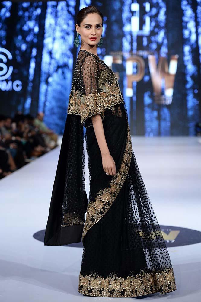 Sanam Chaudhri - OFF THE RUNWAY - Black Handcrafted Sari With Blouse & Jacket