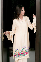 Mehr -  Beige Cotton net embroidered shirt