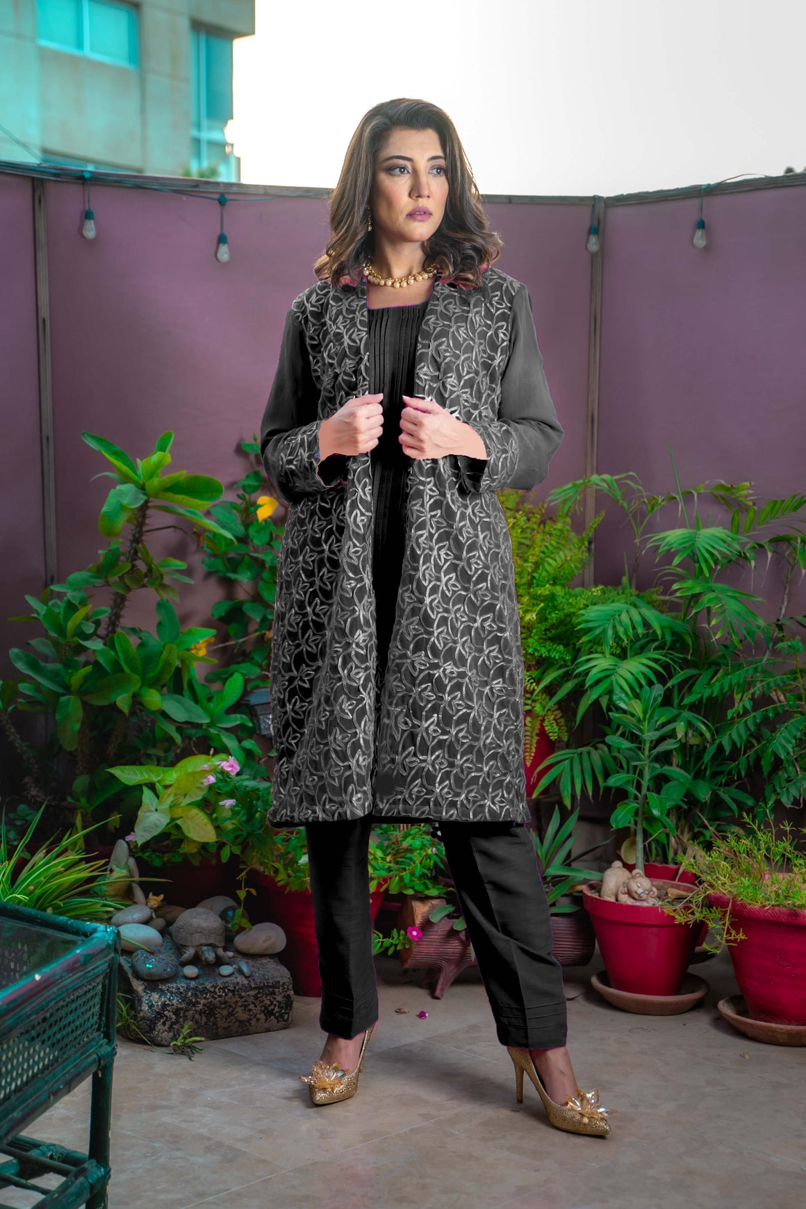 Designs by Amina - Black Gota Suit - Three Piece Stitched