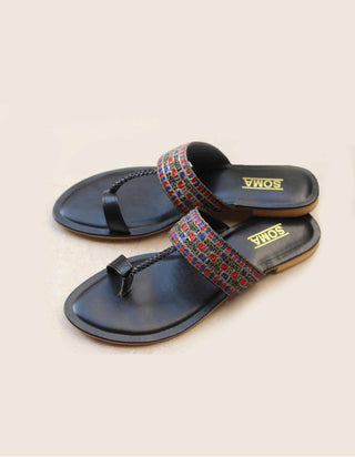 Soma - Black Check Multi Kolapuri