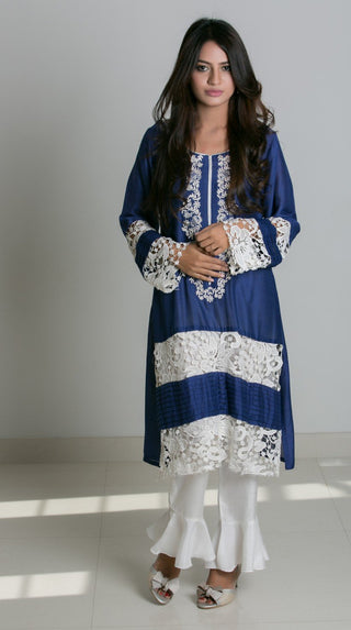Mehr -  Blue cotton net  embroidered shirt