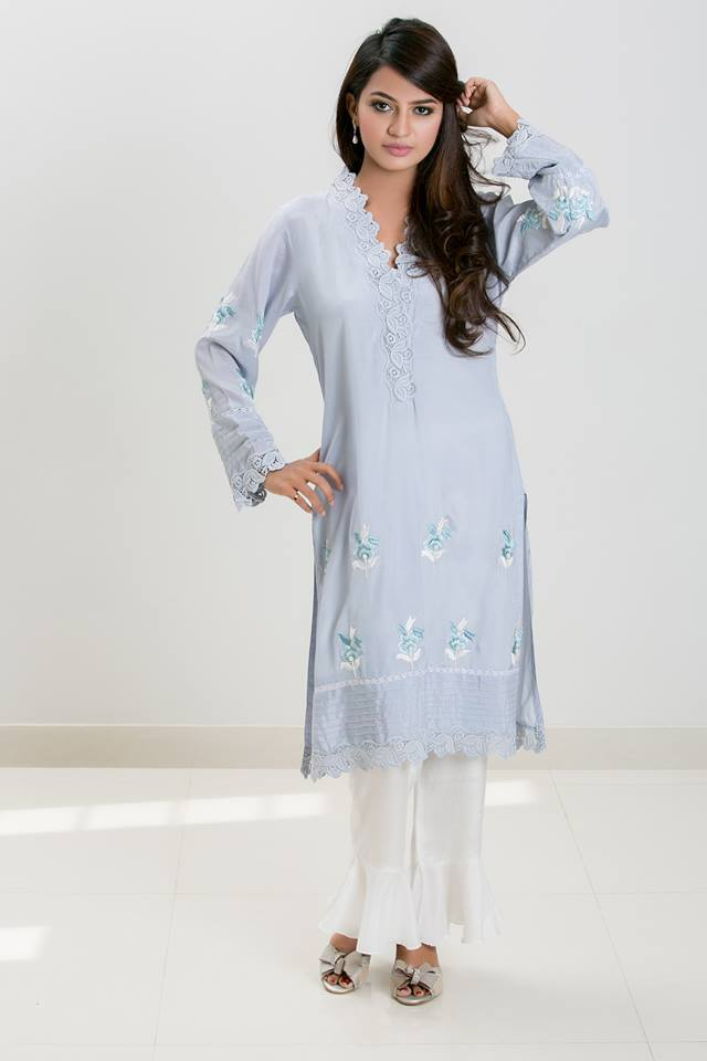 Mehr - Blue pure cotton silk embroidered shirt