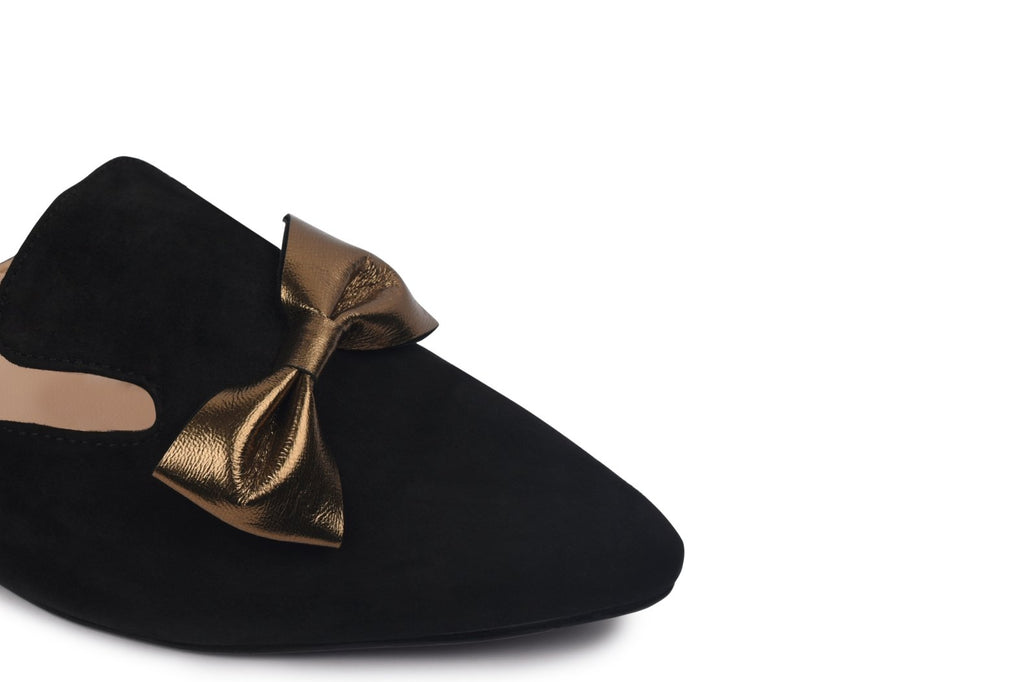 Illume - Black And Antique Gold Bow Tie