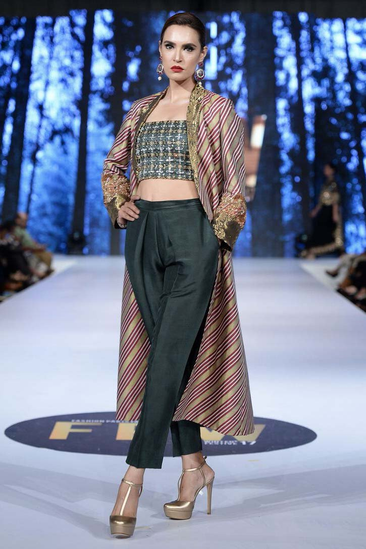Sanam Chaudhri - OFF THE RUNWAY - Charcoal Grey Long Coat With Top & Trousers