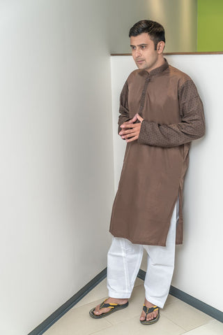 Mens Kurta Brown