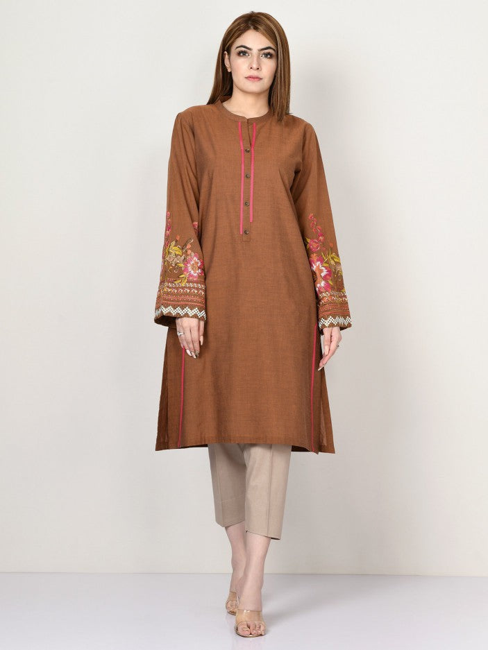 Limelight - Rust Embroidered Yarn Dyed Shirt - 1 PC - P3149SH