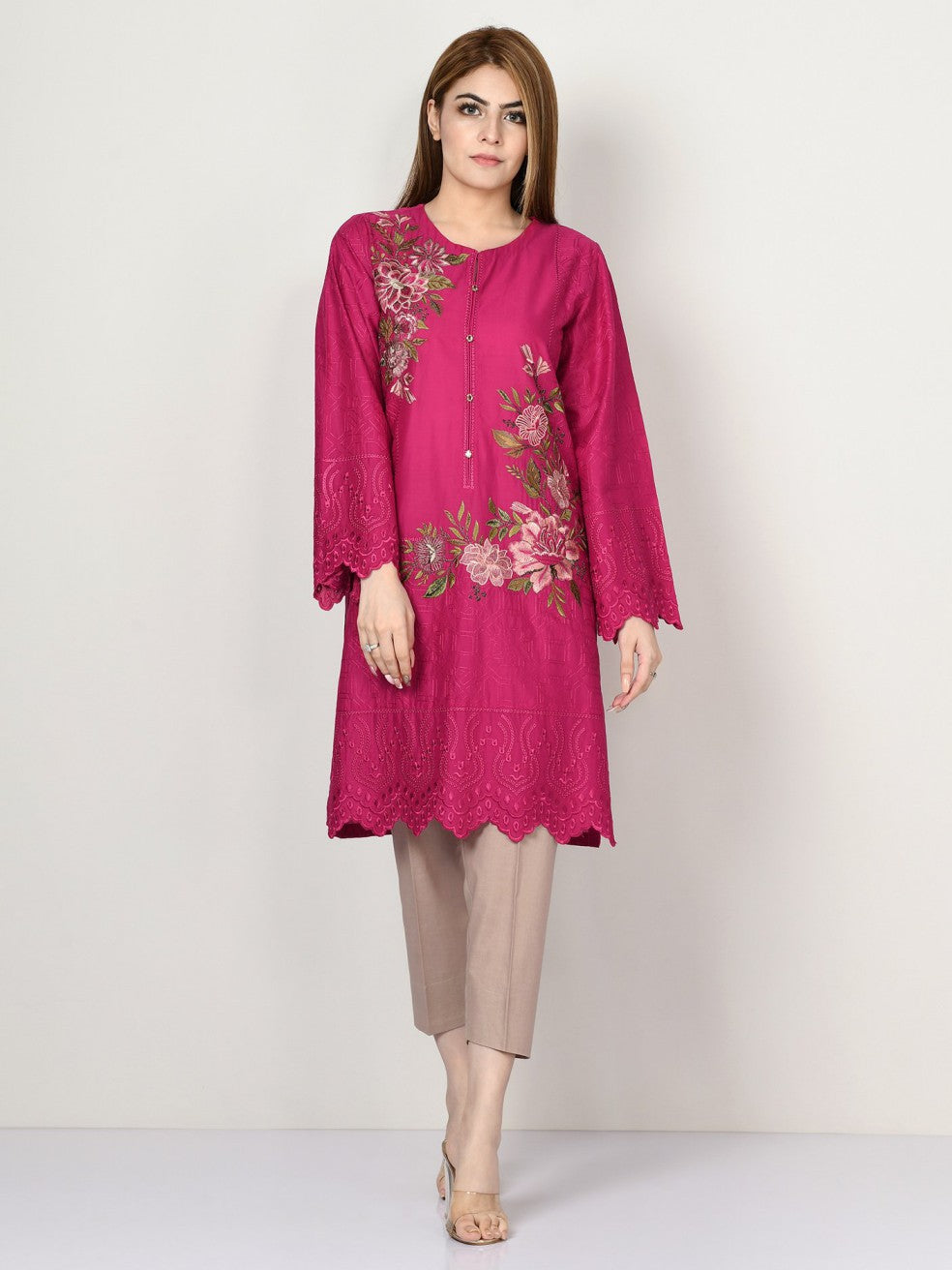 Limelight - Shocking Pink Embroidered Lawn Shirt - 1 PC - 1797P