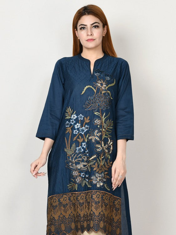 Limelight - Navy Blue Embroidered Lawn Shirt - 1 PC - P2332