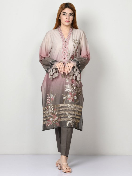 Limelight - Tea Pink Embroidered Cambric Suit - 2 PC - P1610