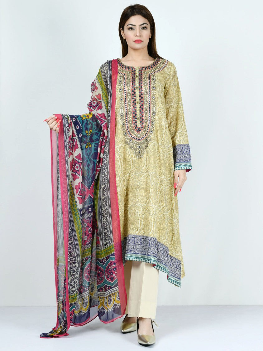 Limelight - Beige Embroidered Lawn Suit - 2 PC - P1624