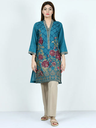 Limelight - Peacock Blue Embroidered Lawn Shirt - 1 PC - P2014