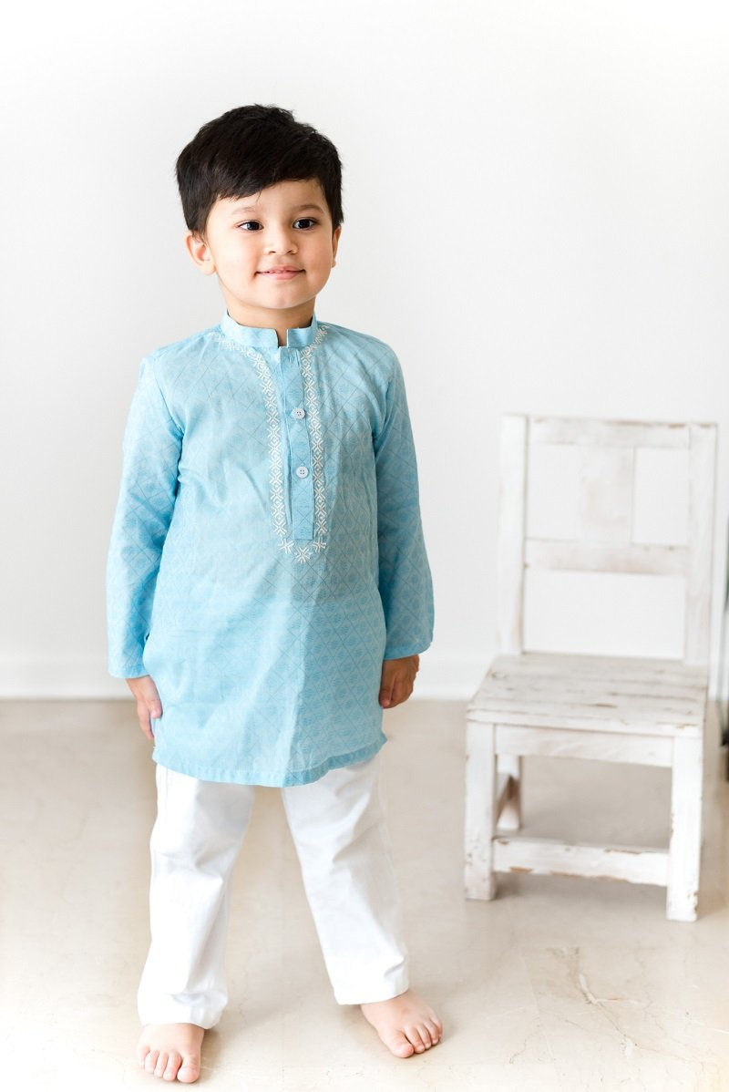 Hummingbirds - True Blue Jacquard Embroidered Kurta