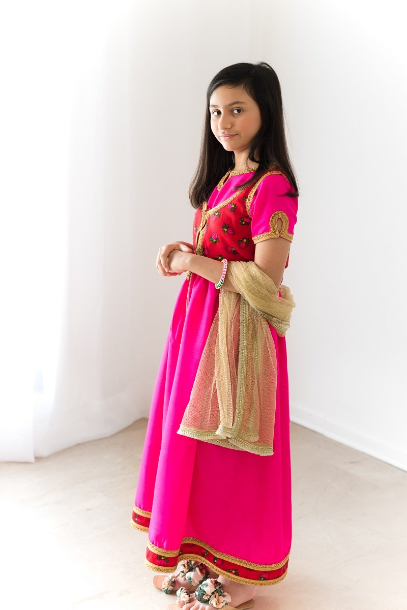 Hummingbirds - Pink & Gold Magenta Peshwaz Suit