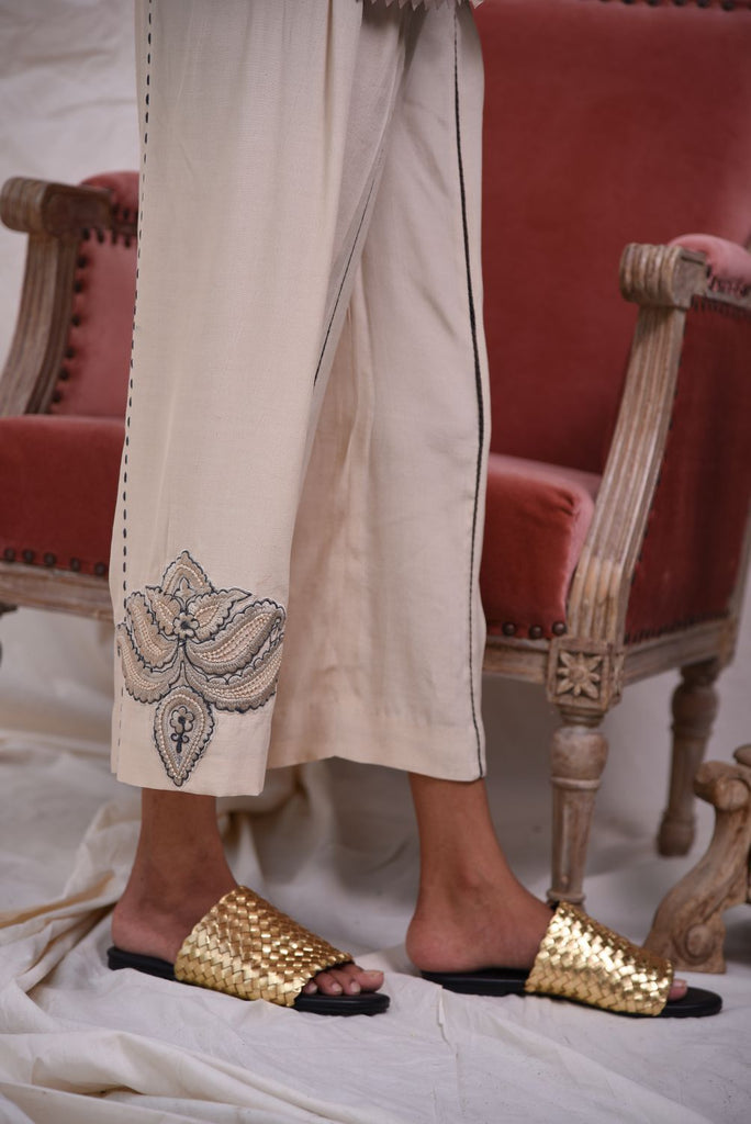Insam - Beige  Embriodered Culottes