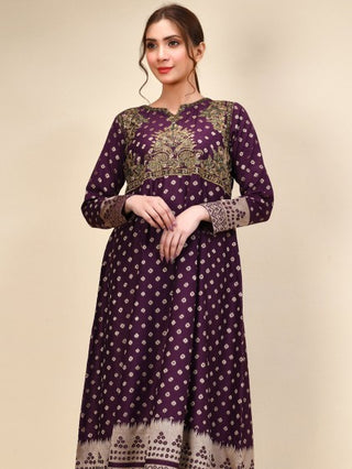 Limelight - Purple Embroidered Jacquard Frock - 1 PC - P3709SH