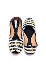 JootiShooti - Hand Painted Monochrome With Gold Silhouette Peep Toe