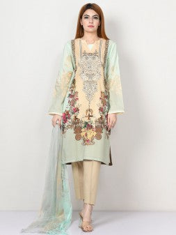 Limelight - Mint Green Embroidered Lawn Suit - 2 PC - P2207