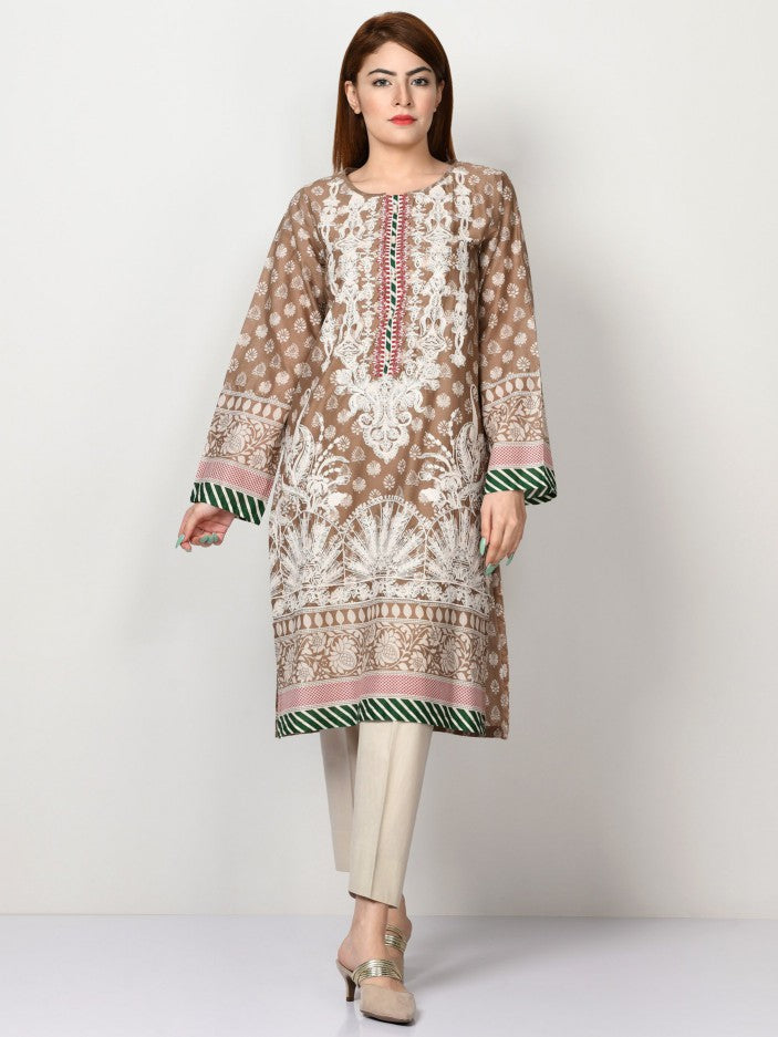 Limelight - Beige Embroidered Lawn Shirt - 1 PC - P2019
