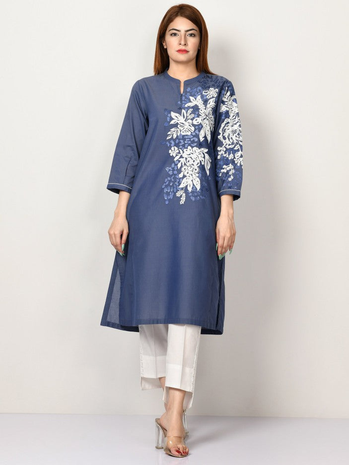 Limelight - Indigo Blue Embroidered Denim Lawn Shirt - 1 PC - P3145SH
