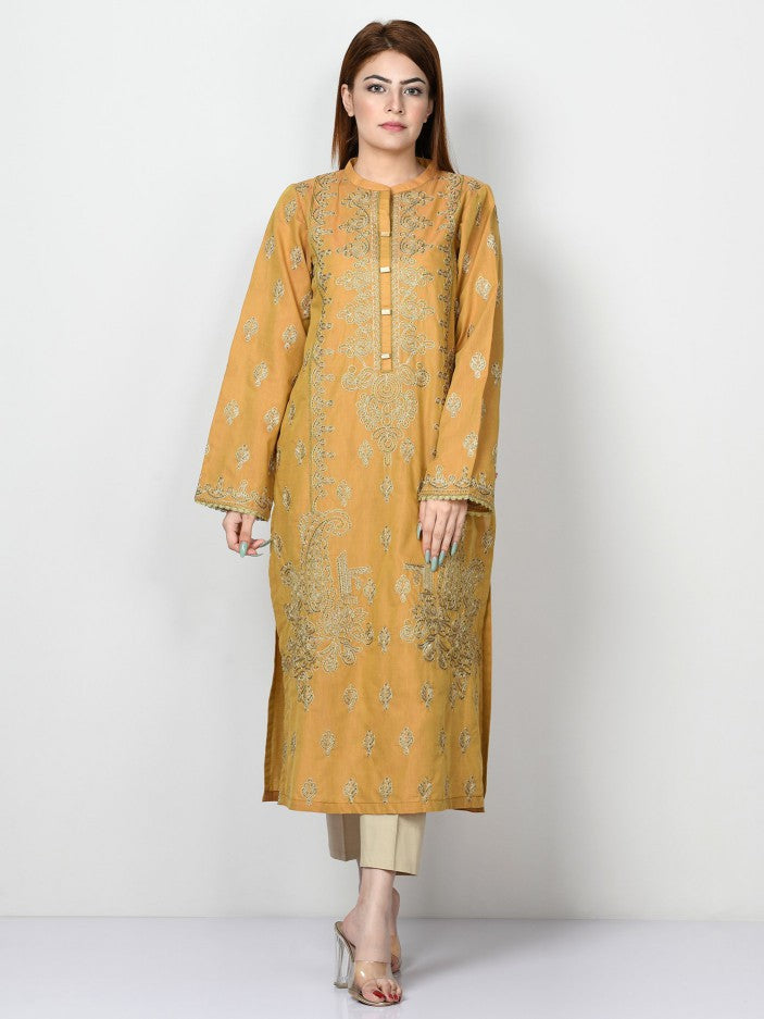 Limelight - Mustard Embroidered Lawn Shirt - 1 PC - P3148