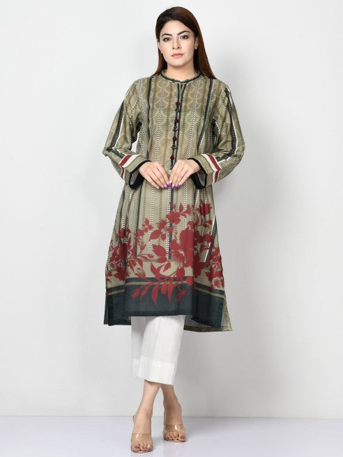 Limelight - Olive Printed Lawn Shirt - 1 PC - P3485
