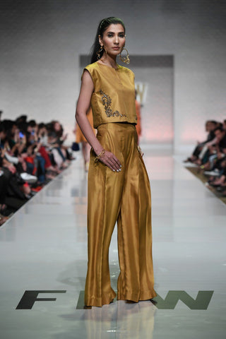 Yasmin Zaman - Mustard Crop Top With Flowy Trouser
