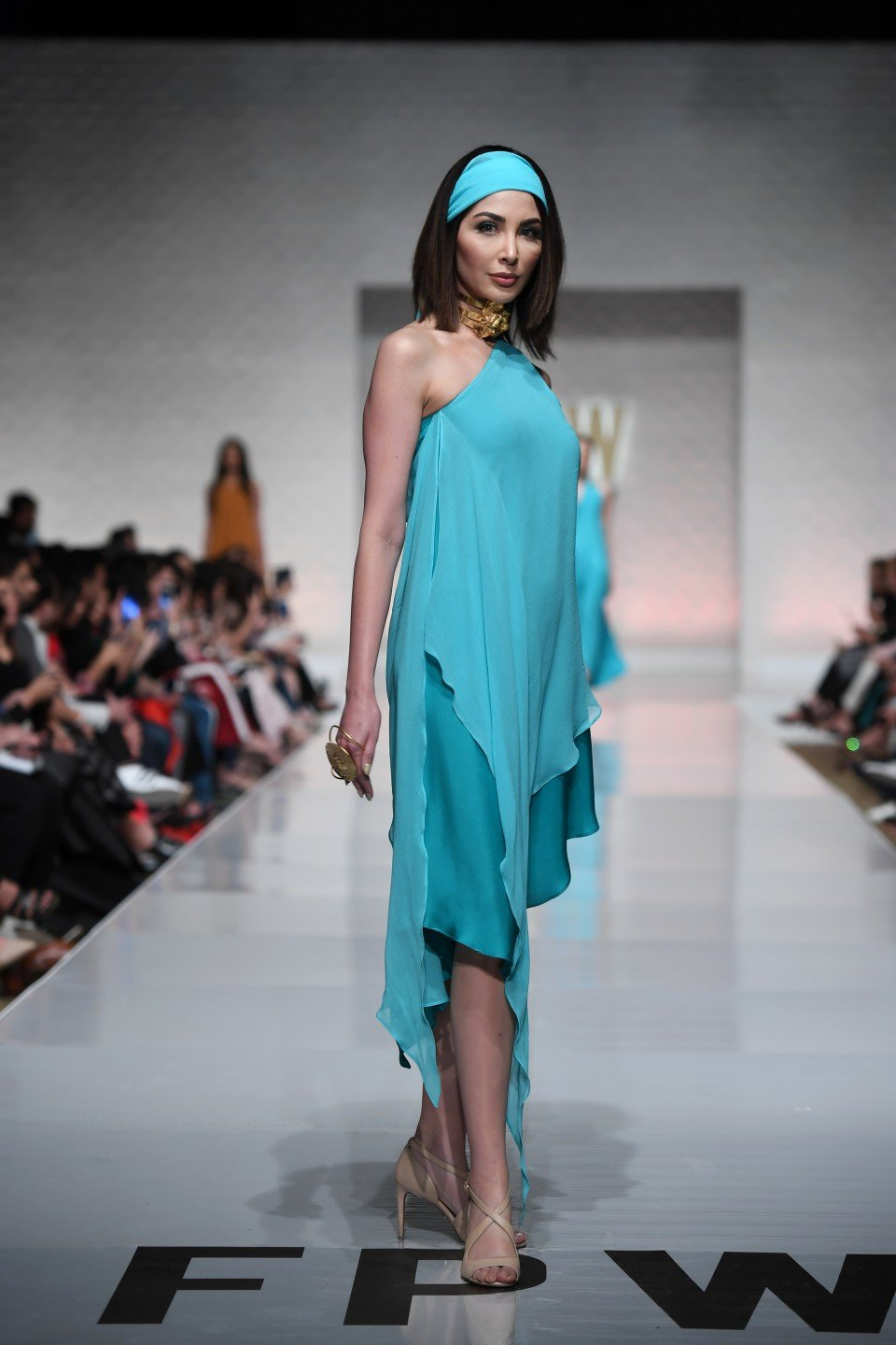 Yasmin Zaman - Aqua Blue Off Shoulder Dress