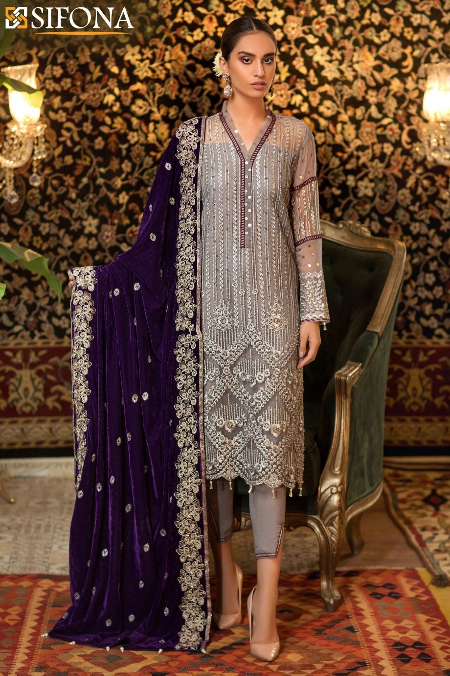 Sifona - Royal Grey - Unstitched - ECV-03