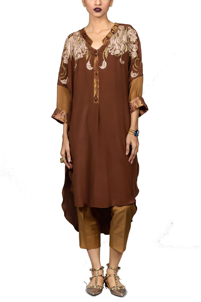 Tena Durrani - Demi Crepe Emboidered Shirt With Raw Silk Pants