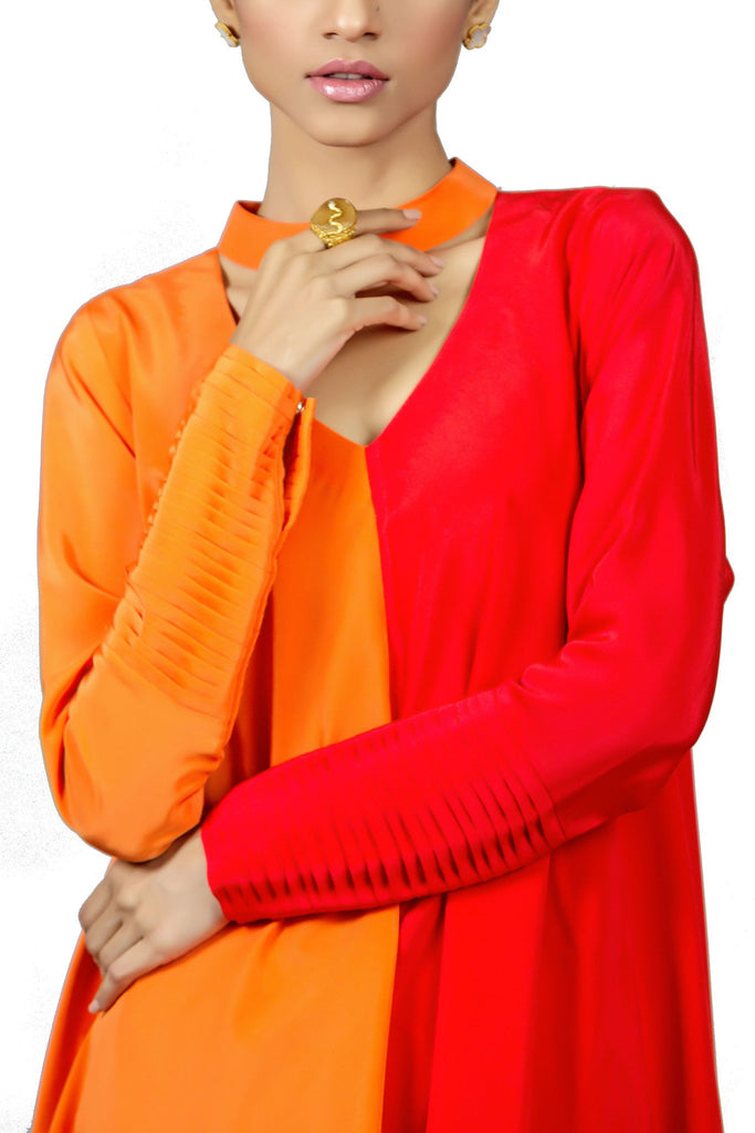 Tena Durrani - Fused Crepe Two-tone A-line Shirt With Raw Silk Pants