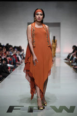 Yasmin Zaman - Rust Chiffon Layered Asymmetrical Hemline Dress