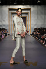 Yasmin Zaman - Cream Embroidered Jacket with Pants - F-184