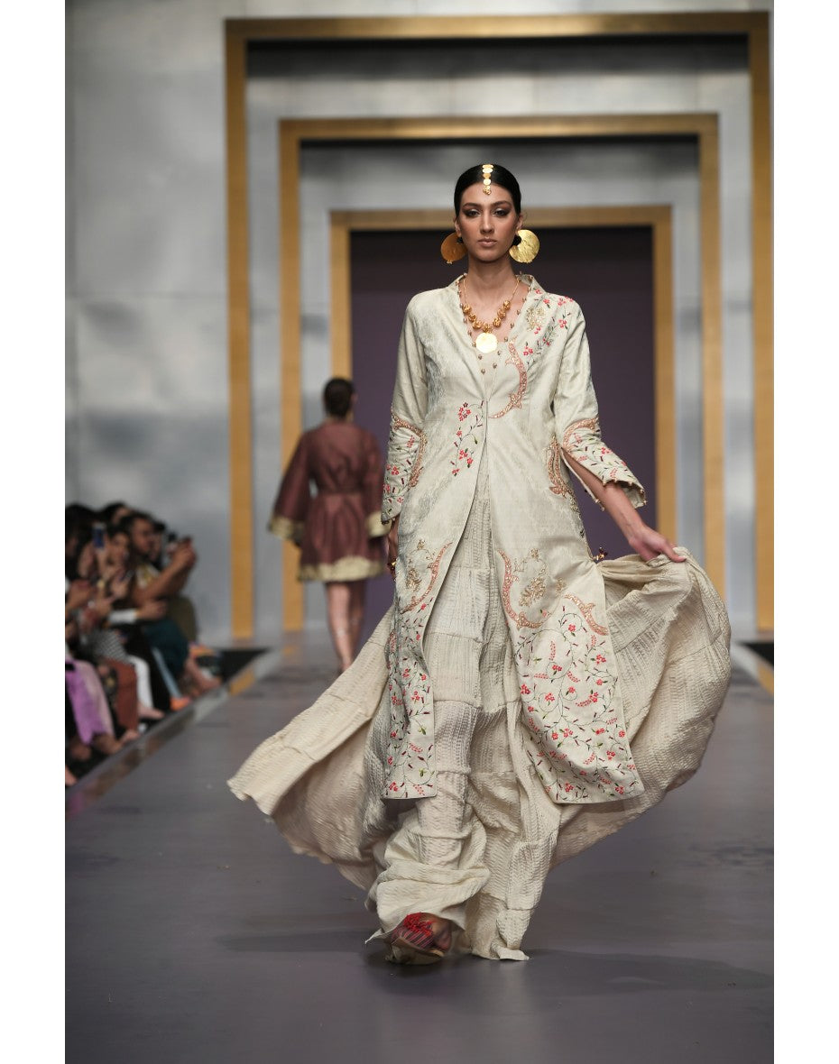 Yasmin Zaman - Cream Long Embroidered - F-185