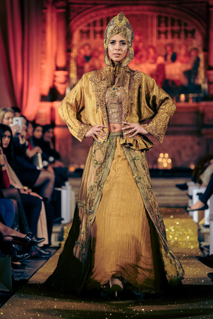 Nilofer Shahid - Harvest Gold Khimkhab Jacket With Heavily Embelished Layered skirt