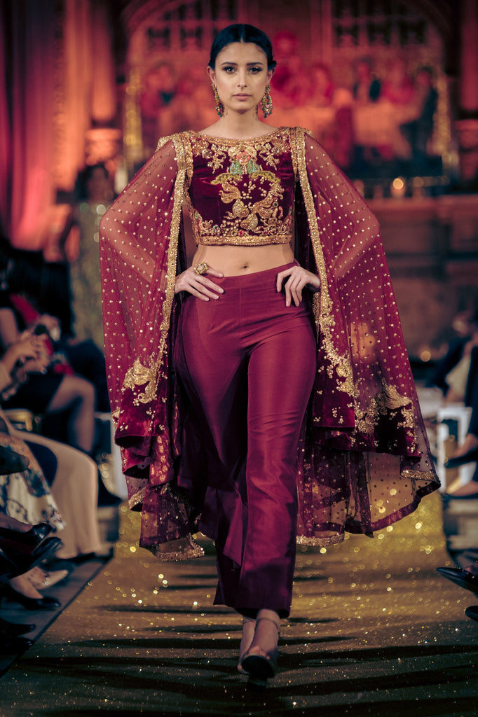 Tena Durrani - Red Velvet Choli With Net Cape & Pants