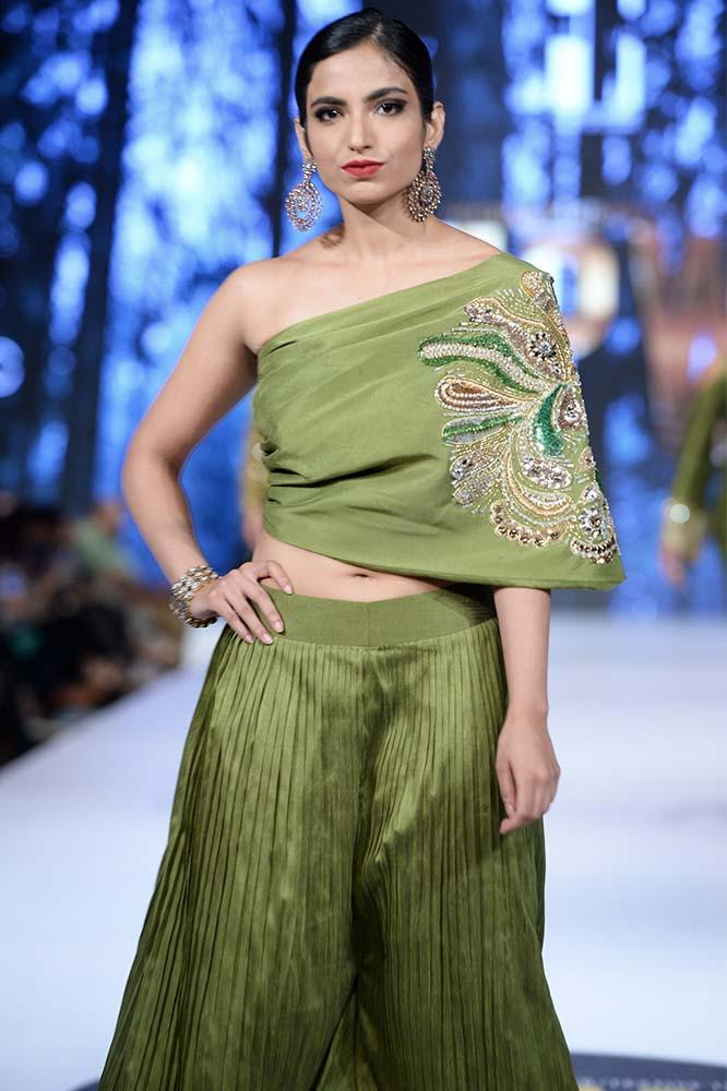 Sanam Chaudhri - Green Raw Silk Palazzo & Top